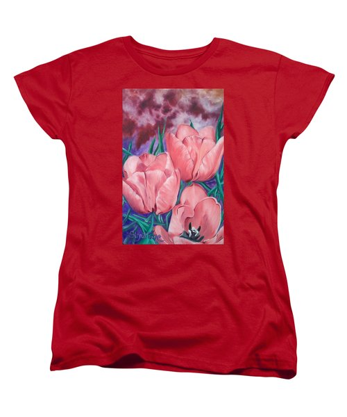 Women's T-Shirt (Standard Cut) featuring the painting Peach Pink Tulips by Sigrid Tune