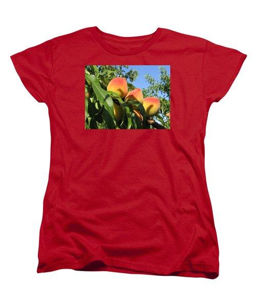 Peaches Women's T-Shirt (Standard Cut) by Barbara Yearty
