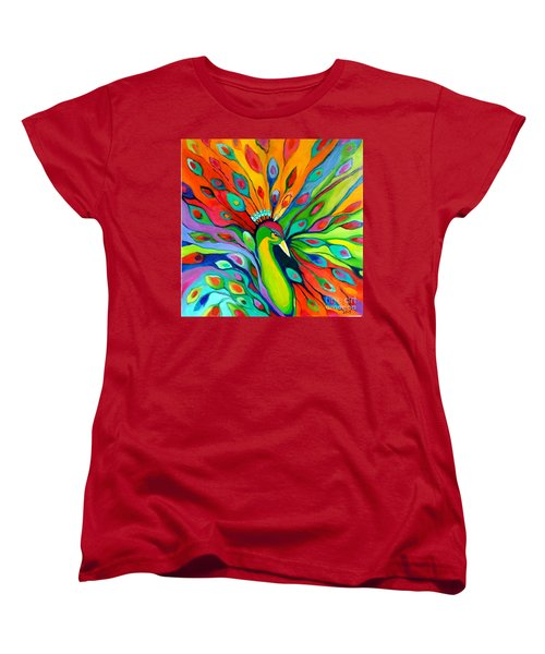 Women's T-Shirt (Standard Cut) featuring the painting Peacock On The 4th Of July by Alison Caltrider