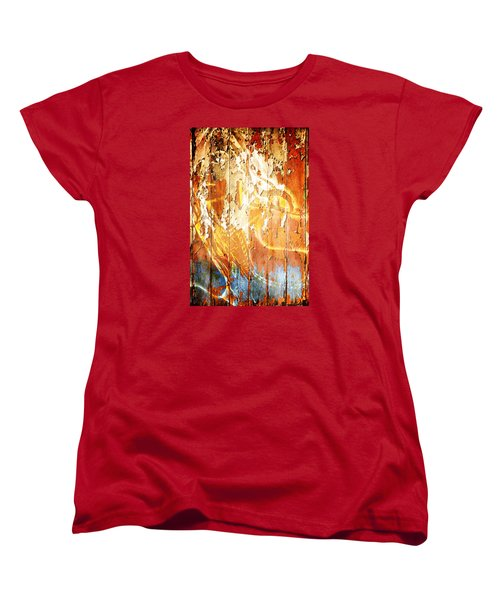 Women's T-Shirt (Standard Cut) featuring the digital art Peeling Wall Portrait by Andrea Barbieri