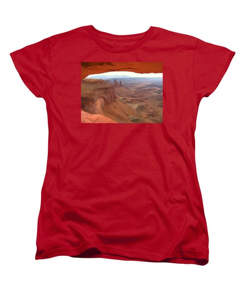 Peering Out 2 Watercolor Women's T-Shirt (Standard Cut) by Gary Baird