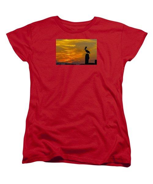 Pelican At Silver Lake Sunset Ocracoke Island Women's T-Shirt (Standard Cut) by Greg Reed