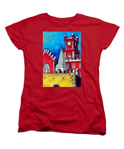 Pena Palace In Portugal Women's T-Shirt (Standard Cut) by Dora Hathazi Mendes