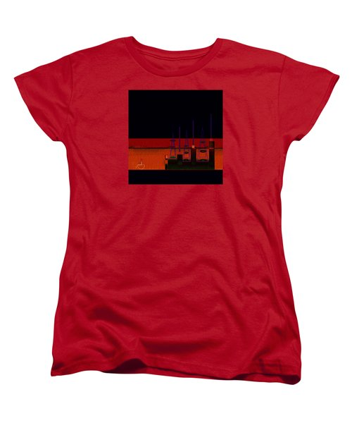 Women's T-Shirt (Standard Cut) featuring the painting Penman Original-271-getting Past The Obstacles by Andrew Penman