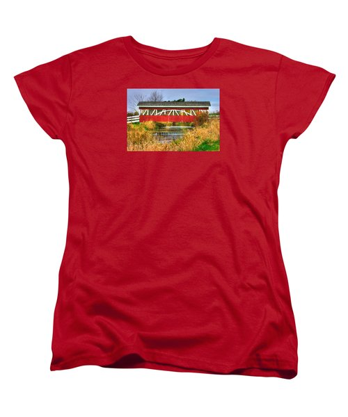 Pennsylvania Country Roads - Oregon Dairy Covered Bridge Over Shirks Run - Lancaster County Women's T-Shirt (Standard Cut) by Michael Mazaika