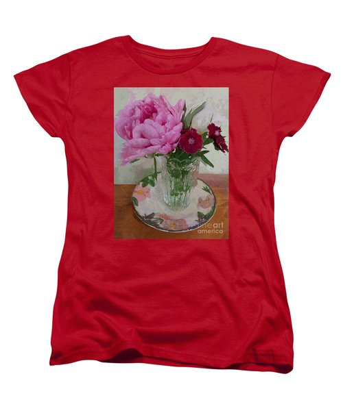 Peonies With Sweet Williams Women's T-Shirt (Standard Cut) by Alexis Rotella