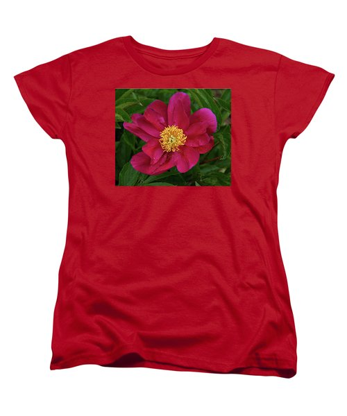 Women's T-Shirt (Standard Cut) featuring the photograph Peony In Rain by Sandy Keeton