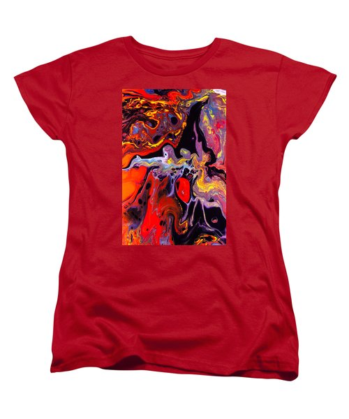 People - Abstract Colorful Mixed Media Painting Women's T-Shirt (Standard Cut) by Modern Art Prints