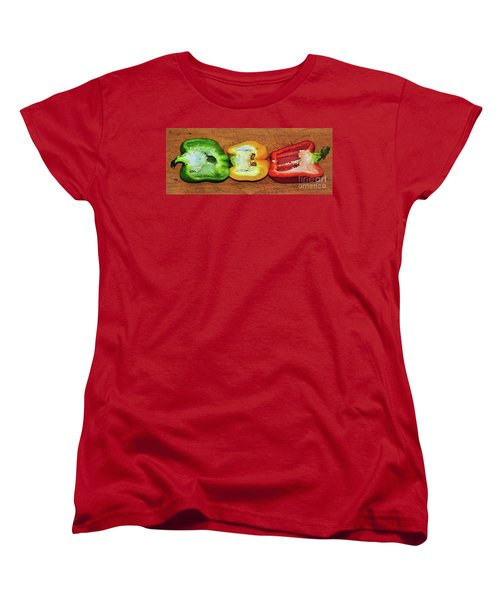 Women's T-Shirt (Standard Cut) featuring the photograph Peppers In A Row By Kaye Menner by Kaye Menner
