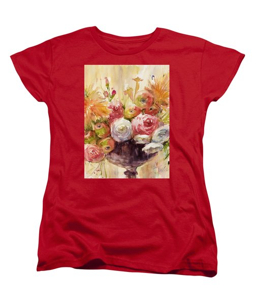 Petite Apples In Floral Women's T-Shirt (Standard Cut) by Judith Levins
