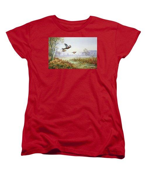 Pheasants In Flight  Women's T-Shirt (Standard Cut) by Carl Donner