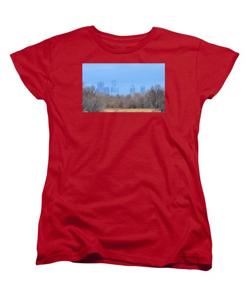 Philly From Afar Women's T-Shirt (Standard Cut) by Kathy Eickenberg