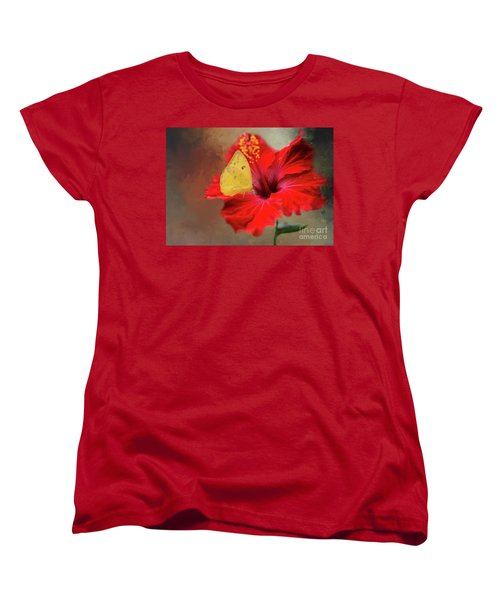 Phoebis Philea On A Hibiscus Women's T-Shirt (Standard Cut) by Eva Lechner