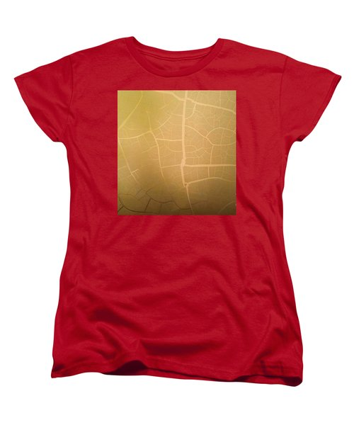 Women's T-Shirt (Standard Cut) featuring the photograph Pillow Pattern Amber Leaf/crackle by Steed Edwards