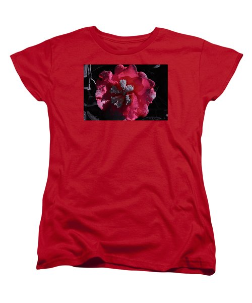 Pink Camillia And Selected Color Women's T-Shirt (Standard Cut) by Warren Thompson