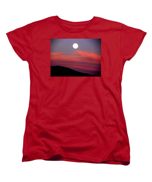 Women's T-Shirt (Standard Cut) featuring the photograph Pink Clouds With Moon by Joseph Frank Baraba
