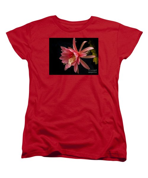 Pink Orchid Cactus Flower Women's T-Shirt (Standard Cut) by Inge Riis McDonald