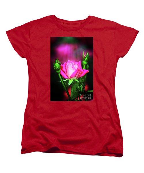 Pink Rose Women's T-Shirt (Standard Cut) by Inspirational Photo Creations Audrey Woods