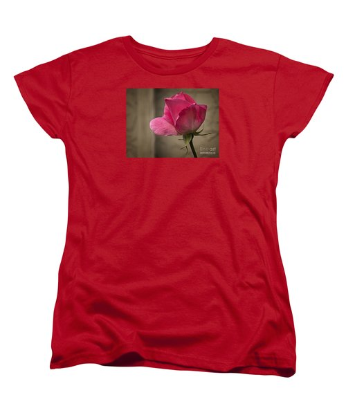 Women's T-Shirt (Standard Cut) featuring the photograph Pink Rose by Inge Riis McDonald