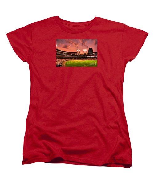 Women's T-Shirt (Standard Cut) featuring the digital art Piscotty In Left Field by William Fields