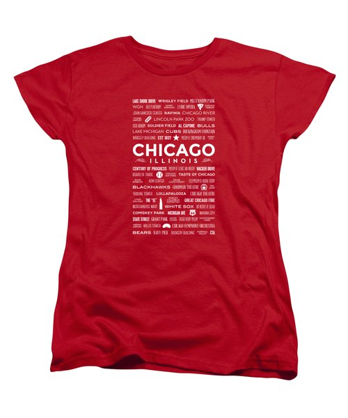 Places Of Chicago On Red Chalkboard Women's T-Shirt (Standard Cut)