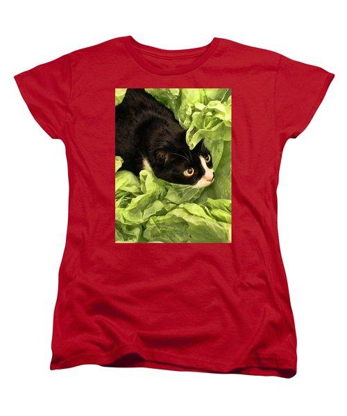 Playful Tuxedo Kitty In Green Tissue Paper Women's T-Shirt (Standard Cut) by Kathy Clark
