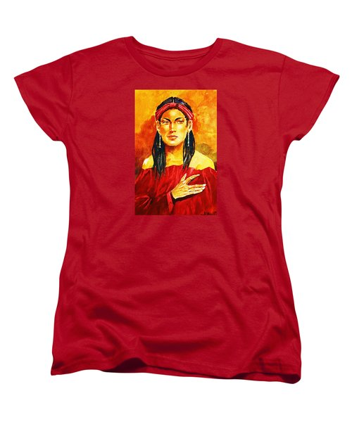 Women's T-Shirt (Standard Cut) featuring the painting Poised In Scarlet Garment by Al Brown