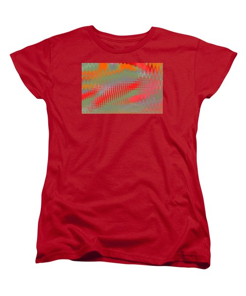 Women's T-Shirt (Standard Cut) featuring the digital art Pond Abstract - Summer Colors by Ben and Raisa Gertsberg