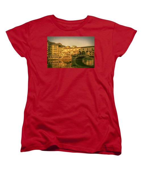 Women's T-Shirt (Standard Cut) featuring the photograph Ponte Vecchio Morning Florence Italy by Joan Carroll