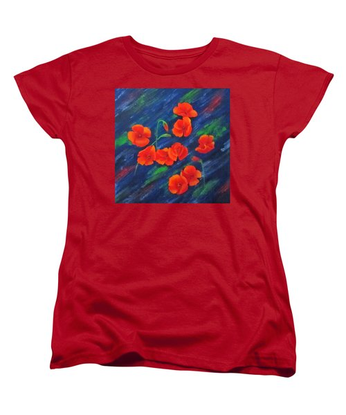 Women's T-Shirt (Standard Cut) featuring the painting Poppies In Abstract by Roseann Gilmore
