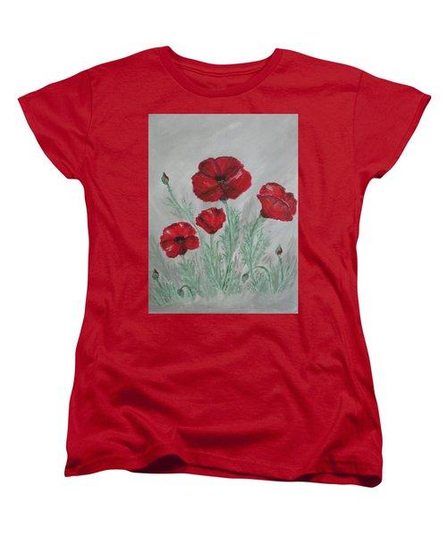 Poppies In The Mist Women's T-Shirt (Standard Cut) by Sharyn Winters