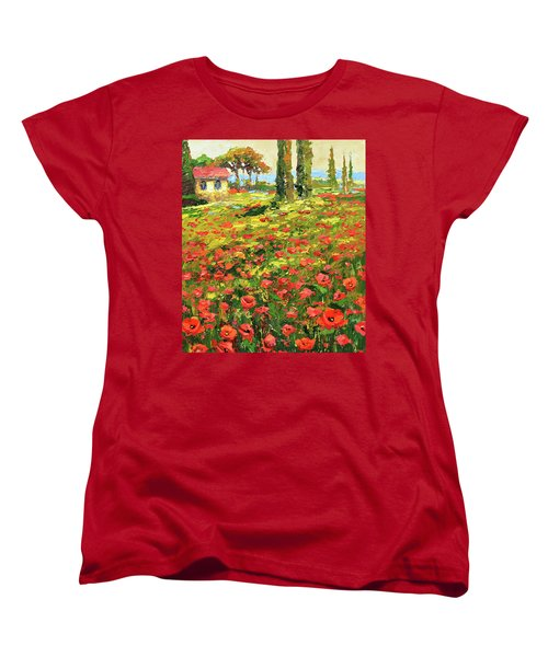 Women's T-Shirt (Standard Cut) featuring the painting Poppies Near The Village by Dmitry Spiros