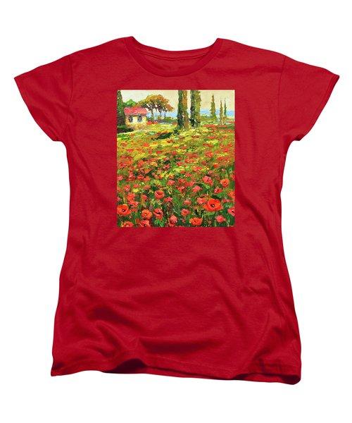 Poppies Near The Village Women's T-Shirt (Standard Cut) by Dmitry Spiros
