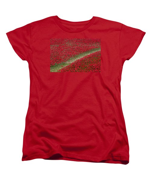 Poppies Of Remembrance Women's T-Shirt (Standard Cut) by Martin Newman