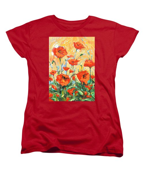 Women's T-Shirt (Standard Cut) featuring the painting Poppies On A Yellow            by Dmitry Spiros