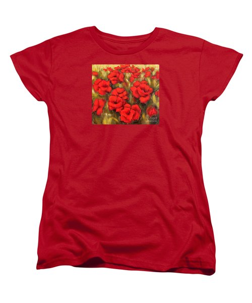 Women's T-Shirt (Standard Cut) featuring the painting Poppies Passion Fragment by Inese Poga
