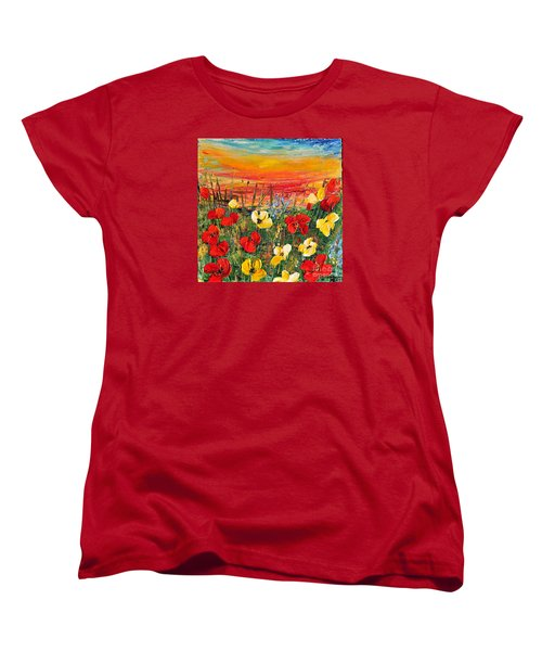 Women's T-Shirt (Standard Cut) featuring the painting Poppies by Teresa Wegrzyn