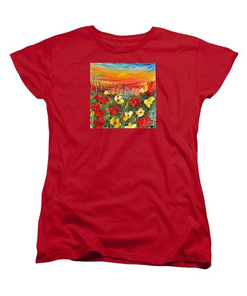 Poppies Women's T-Shirt (Standard Cut) by Teresa Wegrzyn