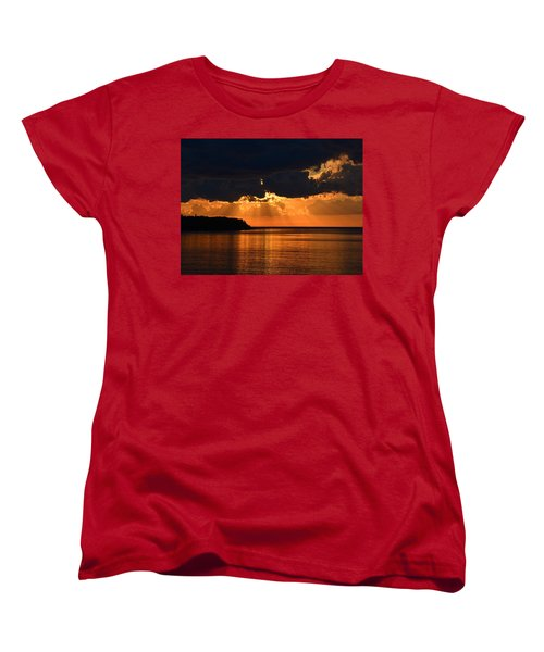 Porcupine Mountains Superior Sunset Women's T-Shirt (Standard Cut) by Keith Stokes