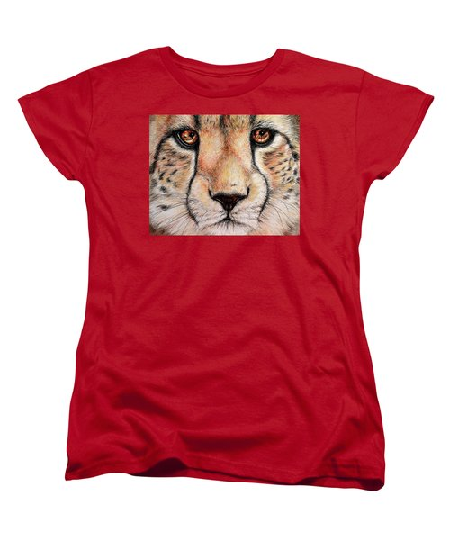 Portrait Of A Cheetah Women's T-Shirt (Standard Cut) by Heidi Kriel