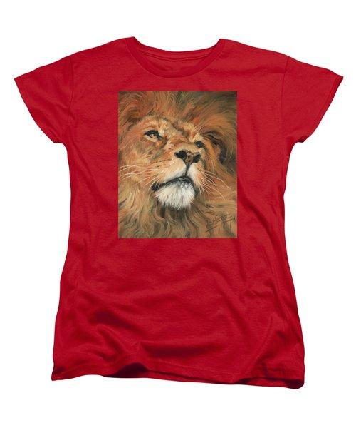 Portrait Of A Lion Women's T-Shirt (Standard Cut) by David Stribbling