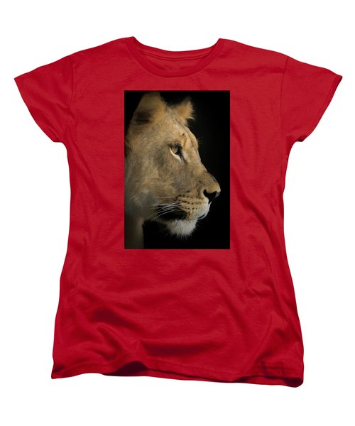 Women's T-Shirt (Standard Cut) featuring the digital art Portrait Of A Young Lion by Ernie Echols