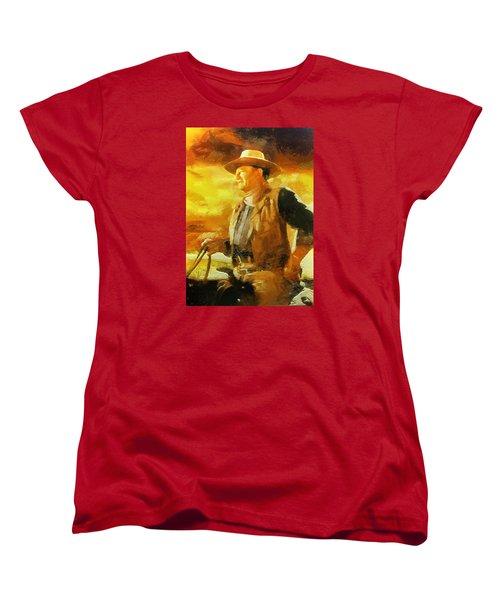 Portrait Of John Wayne Women's T-Shirt (Standard Cut) by Charmaine Zoe