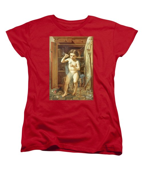 Women's T-Shirt (Standard Cut) featuring the painting Pranks Of Love by Manuel Ocaranza