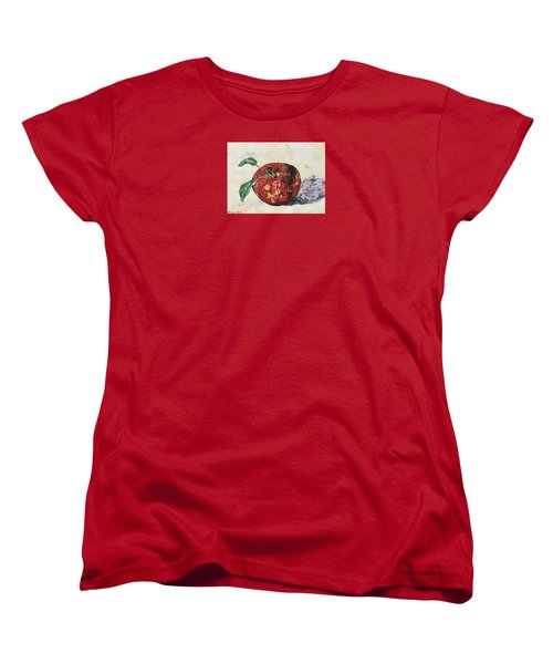 Women's T-Shirt (Standard Cut) featuring the painting Pretty Apple by Reina Resto