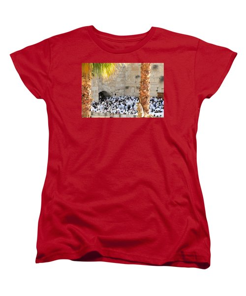 Prayer Of Shaharit At The Kotel During Sukkot Festival Women's T-Shirt (Standard Cut) by Yoel Koskas