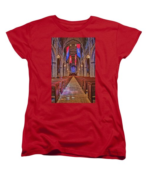 Women's T-Shirt (Standard Cut) featuring the photograph Princeton University Chapel by Susan Candelario