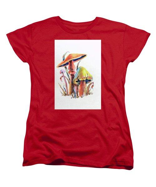 Psychedelic Mushrooms Women's T-Shirt (Standard Cut) by Pattie Calfy