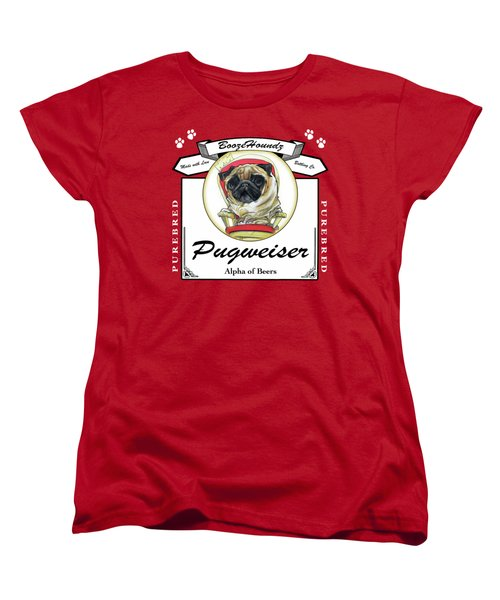 Pugweiser Beer Women's T-Shirt (Standard Cut) by John LaFree