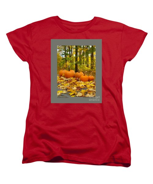 Women's T-Shirt (Standard Cut) featuring the photograph Pumpkins And Woods-ii by Patricia Overmoyer